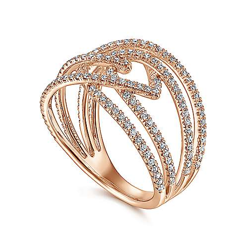 14K Rose Gold Intersecting Multi Row Pavé Diamond Ring