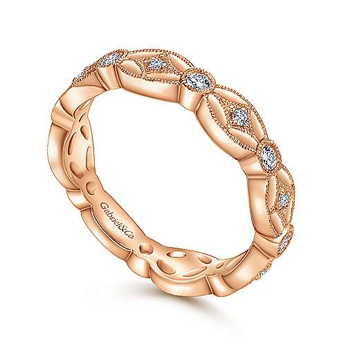 14K Rose Gold Intricate Cutout Stackable Diamond Ring