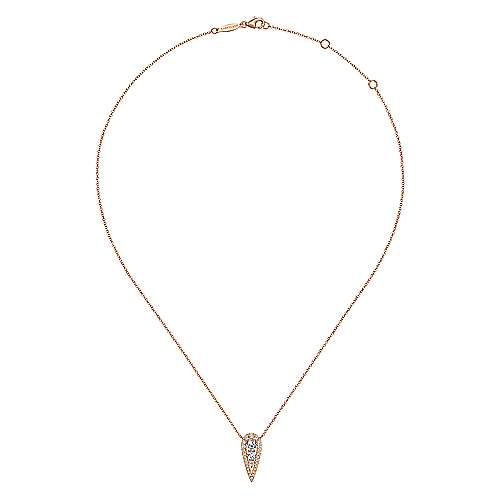 14K Rose Gold Inverted Teardrop Diamond Pendant Necklace