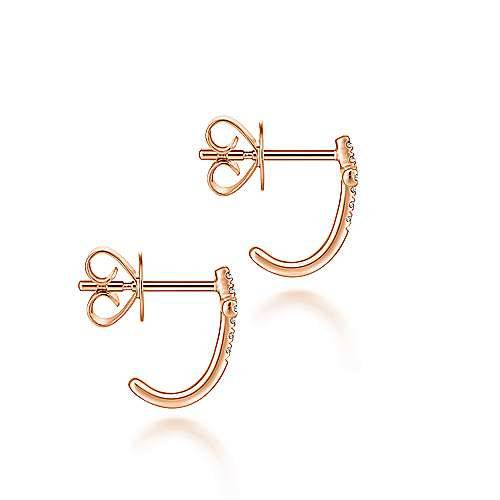 14K Rose Gold J Curve Diamond Cross Stud Earrings