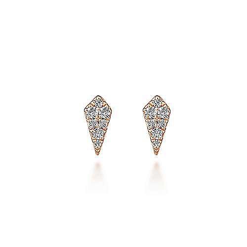 14K Rose Gold Kite Shaped Diamond Stud Earrings