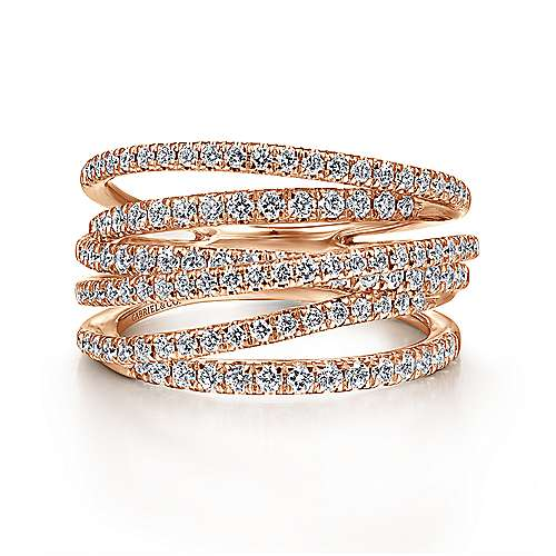 14K Rose Gold Layered Criss Crossing Wide Band Diamond Ring