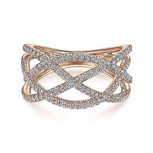 14K Rose Gold Layered Grid Diamond Ring