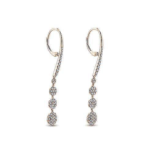 14K Rose Gold Long Graduating Circle Diamond Drop Earrings