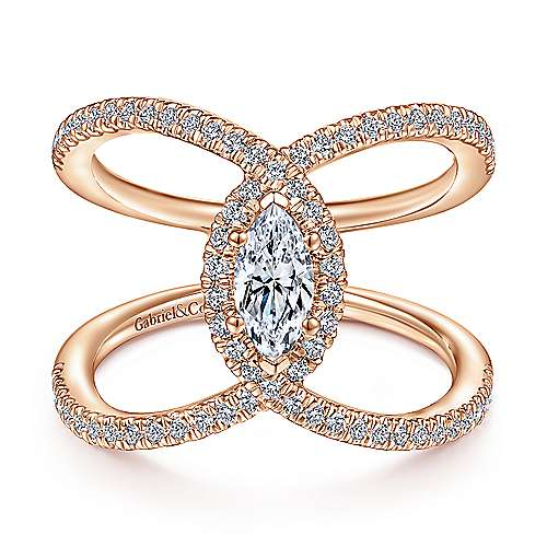 14K Rose Gold Marquise Halo Complete Diamond Engagement Ring