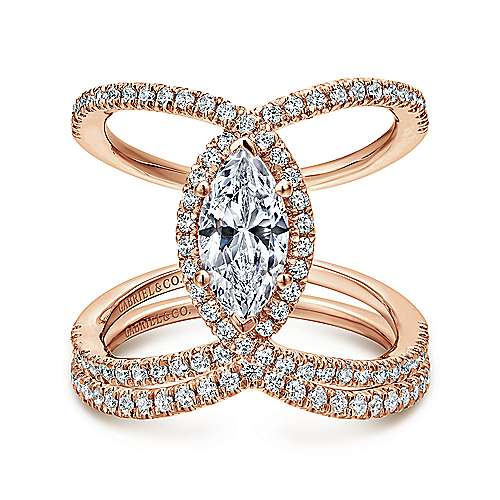 14K Rose Gold Marquise Halo Diamond Engagement Ring