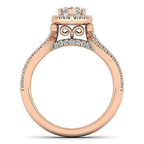 14K Rose Gold Marquise Halo Diamond Engagement Ring