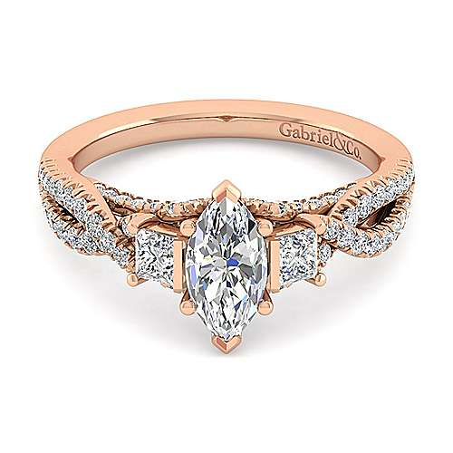 14K Rose Gold Marquise Shape Diamond Engagement Ring