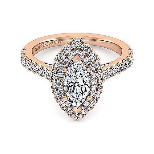 14K Rose Gold Marquise Shape Diamond Engagement Ring