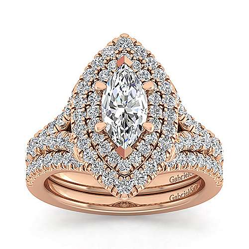 14K Rose Gold Marquise Shape Double Halo Diamond Engagement Ring