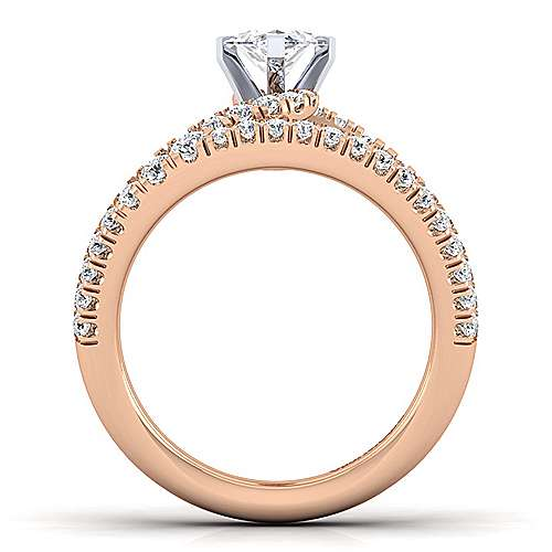 14K Rose Gold Marquise Shape Split Shank Diamond Engagement Ring