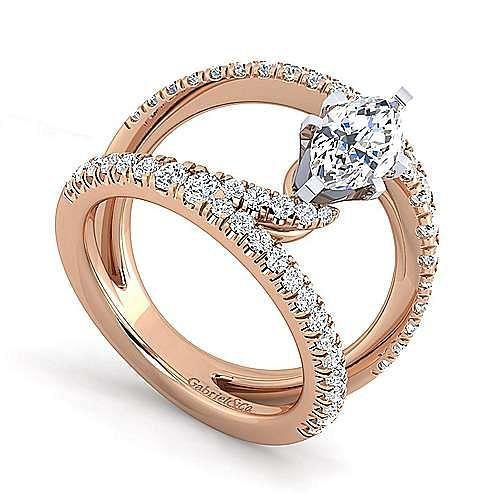 14K Rose Gold Marquise Shape Split Shank Diamond Engagement Ring