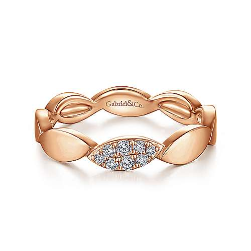 14K Rose Gold Marquise Shape Stackable Ring with Pavé Diamond Station