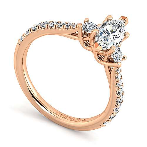 14K Rose Gold Marquise Shape Three Stone Diamond Engagement Ring