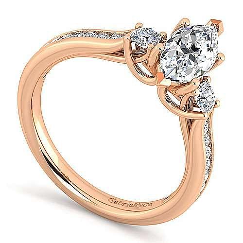14K Rose Gold Marquise Shape Three Stone Diamond Engagement Ring