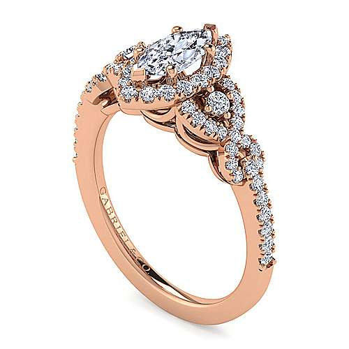 14K Rose Gold Marquise Shape Three Stone Halo Diamond Engagement Ring
