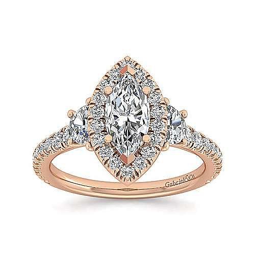 14K Rose Gold Marquise Shape Three Stone Halo Diamond Engagement Ring