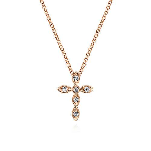 14K Rose Gold Marquise Shaped Diamond Cross Necklace