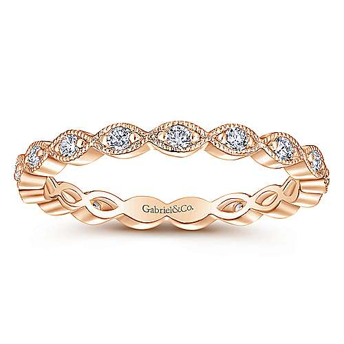 14K Rose Gold Marquise Station Diamond Eternity Stackable Ring