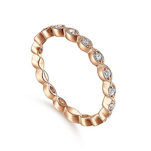 14K Rose Gold Marquise Station Diamond Stackable Ring