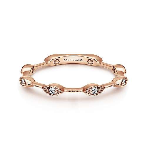 14K Rose Gold Marquise Station Stackable Diamond Ring