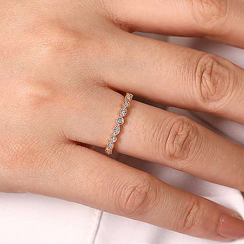 14K Rose Gold Marquise and Round Station Diamond Ring
