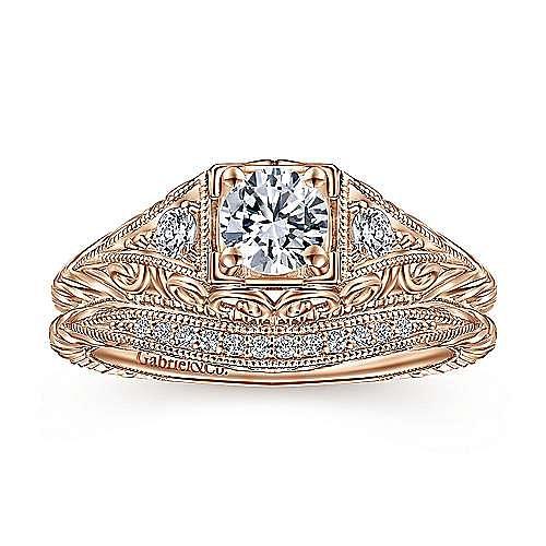 14K Rose Gold Matching Diamond Wedding Band
