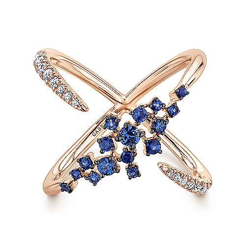 14K Rose Gold Modern Scattered Sapphire and Diamond Open Ring