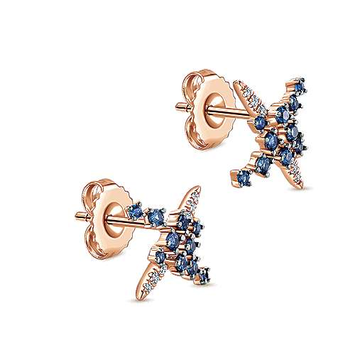 14K Rose Gold Modern Scattered Sapphire and Diamond Stud Earrings