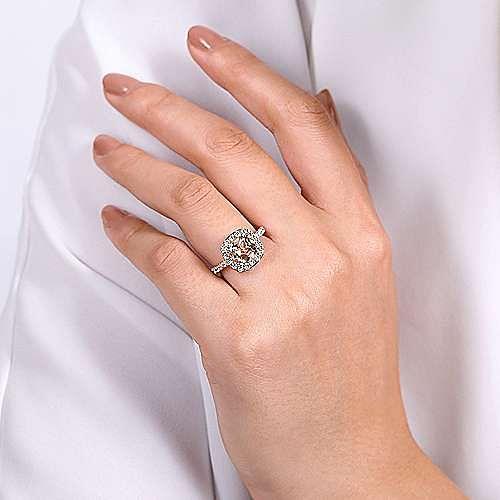 14K Rose Gold Morganite and Diamond Halo Engagement Ring