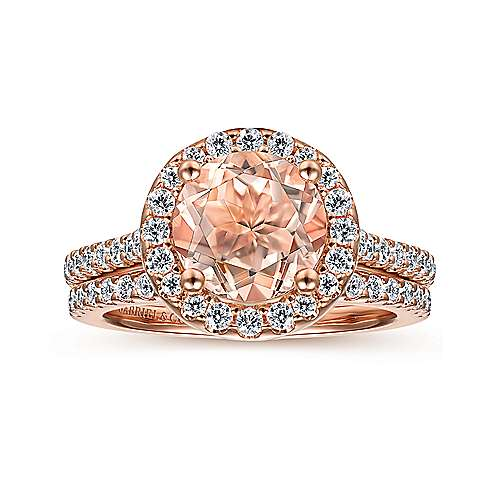 14K Rose Gold Morganite and Diamond Halo Engagement Ring