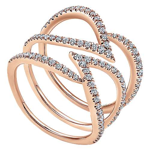 14K Rose Gold Multi Row Layered Open Diamond Ring