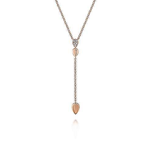 14K Rose Gold Multi Teardrop Y Necklace with Diamonds