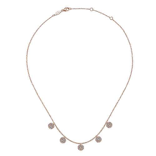 14K Rose Gold Necklace with Round Diamond Pavé Disc Drops