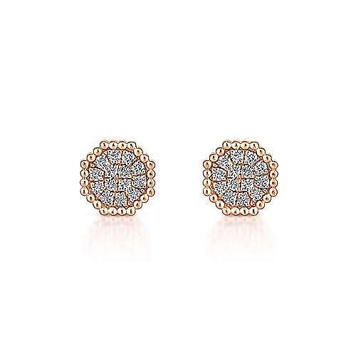 14K Rose Gold Octagonal Pavé Diamond Cluster Stud Earrings