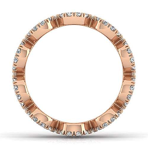 14K Rose Gold Open Circle Diamond Eternity Ring