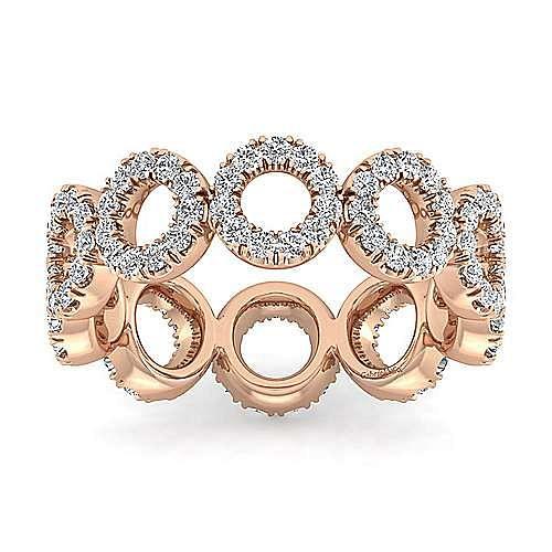 14K Rose Gold Open Circle Diamond Eternity Ring