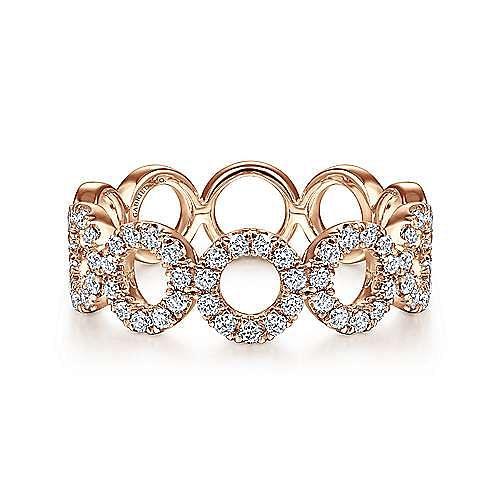 14K Rose Gold Open Circle Diamond Ring