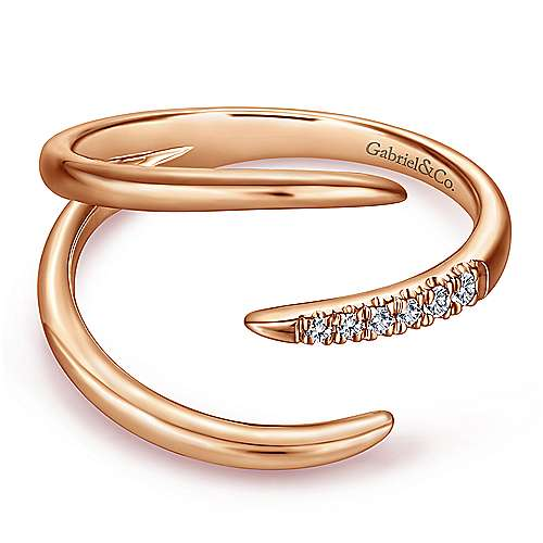 14K Rose Gold Open Claw Diamond Ring