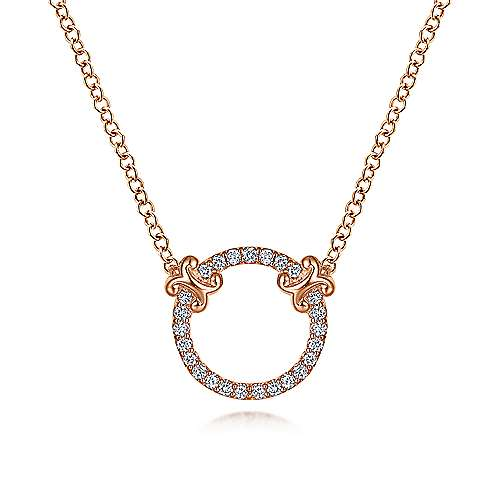 14K Rose Gold Open Diamond Circle Pendant Necklace