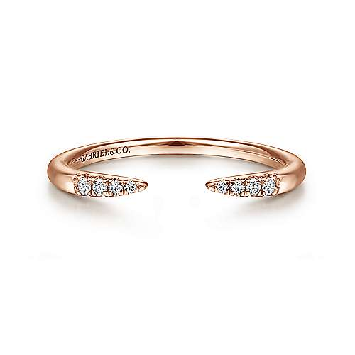 14K Rose Gold Open Diamond Tipped Stackable Ring
