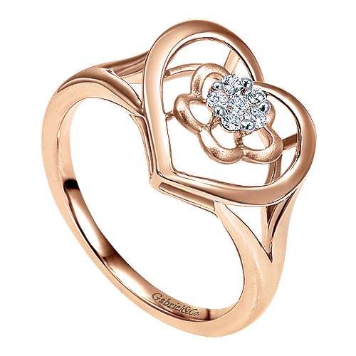 14K Rose Gold Open Heart Floral Diamond Cluster Ring