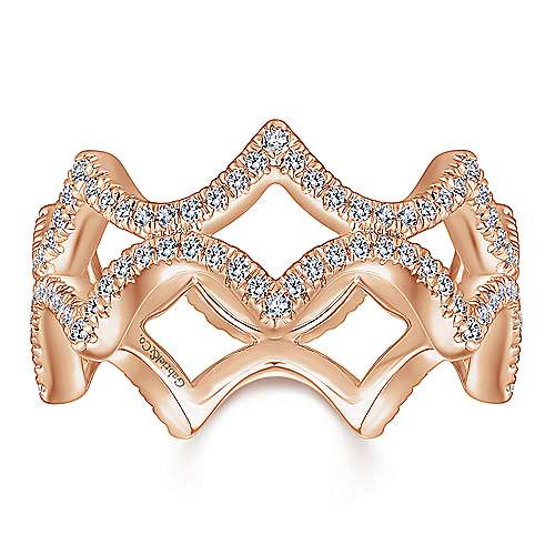 14K Rose Gold Open Triangular Diamond Eternity Ring