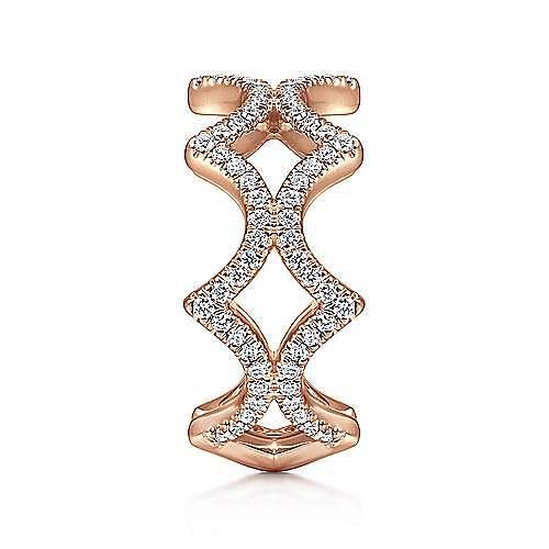 14K Rose Gold Open Triangular Diamond Ring