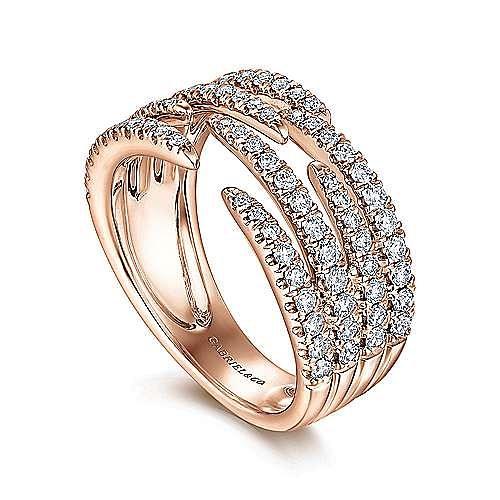 14K Rose Gold Open Wide Band Pavé Diamond Ring