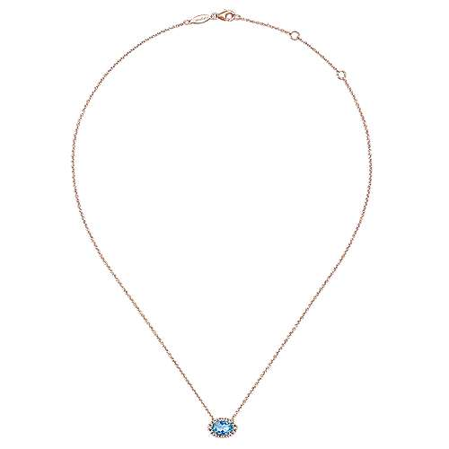 14K Rose Gold Oval Blue Topaz and Diamond Halo Pendant Necklace