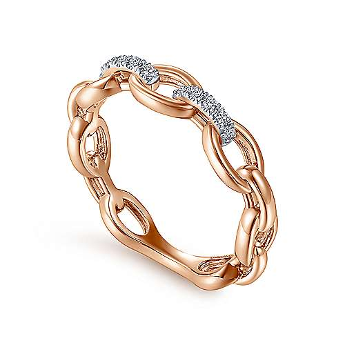 14K Rose Gold Oval Chain Link Diamond Ring