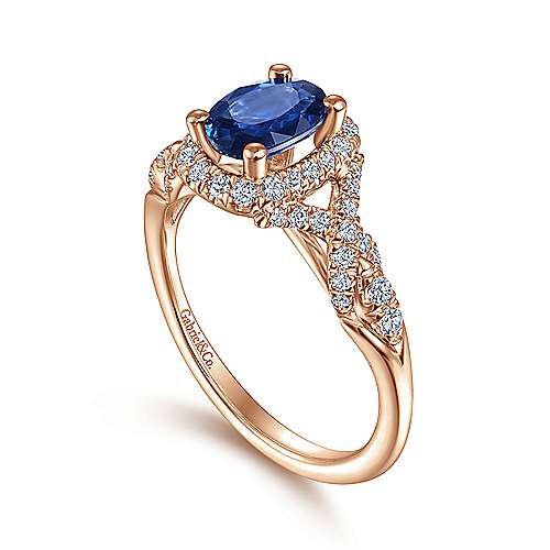 14K Rose Gold Oval Cut Sapphire Diamond Halo Ring