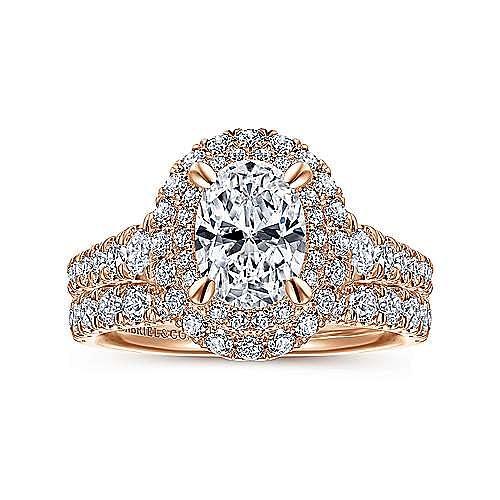 14K Rose Gold Oval Diamond Engagement Ring