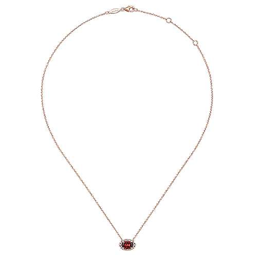 14K Rose Gold Oval Garnet and Diamond Halo Pendant Necklace